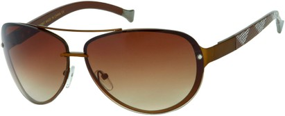 Angle of Cornerstone #310 in Bronze/Brown Frame with Amber Lenses, Women's and Men's Aviator Sunglasses