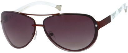 Angle of Cornerstone #310 in Red/White Frame with Smoke Lenses, Women's and Men's Aviator Sunglasses