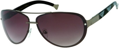 Angle of Cornerstone #310 in Dark Grey/Black Frame with Smoke Lenses, Women's and Men's Aviator Sunglasses