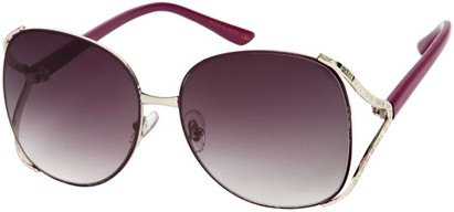 Angle of SW Oversized Metal Style #8827 in Purple/Silver Frame, Women's and Men's