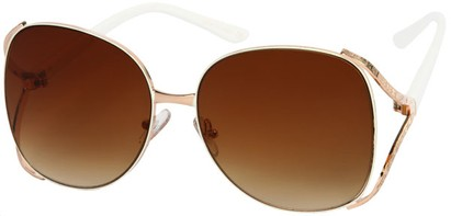 Angle of SW Oversized Metal Style #8827 in White/Gold Frame, Women's and Men's