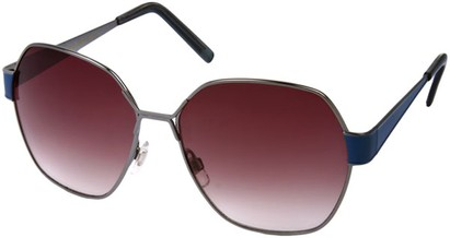 Angle of Lanai #13499 in Grey and Blue Frame, Women's Round Sunglasses