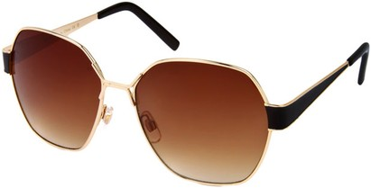 Angle of Lanai #13499 in Gold and Black Frame, Women's Round Sunglasses