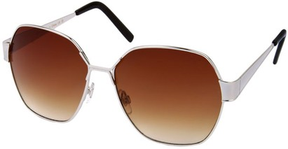 Angle of Lanai #13499 in Silver Frame, Women's Round Sunglasses