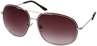 Angle of SW Aviator Style #13992 in Silver/Black Frame with Smoke Lenses, Women's and Men's
