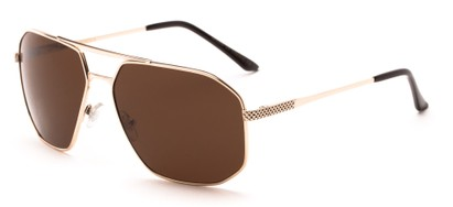 Angle of Moor #2074 in Gold Frame with Brown Lenses, Men's Aviator Sunglasses