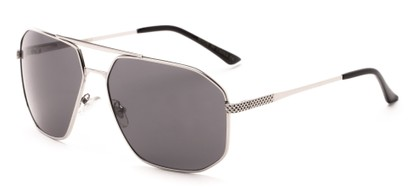 Angle of Moor #2074 in Silver Frame with Grey Lenses, Men's Aviator Sunglasses