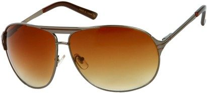 Angle of SW Aviator Style #306 in Glossy Grey Frame with Amber Lenses, Women's and Men's