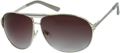 Angle of SW Aviator Style #306 in Glossy Silver Frame with Smoke Lenses, Women's and Men's
