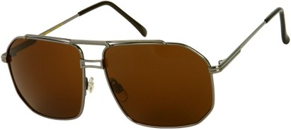 Angle of Moto #93 in Grey Frame with Dark Amber Lenses, Women's and Men's Aviator Sunglasses