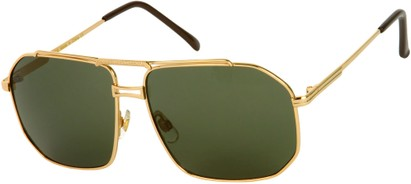 Angle of Moto #93 in Gold Frame with Green Lenses, Women's and Men's Aviator Sunglasses