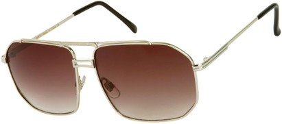 Angle of Moto #93 in Silver Frame with Smoke Lenses, Women's and Men's Aviator Sunglasses