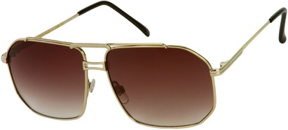 Angle of Moto #93 in Light Gold Frame with Smoke Lenses, Women's and Men's Aviator Sunglasses