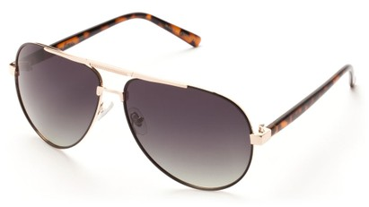 Angle of Tibet #2084 in Tortoise and Gold Frame with Smoke Lenses, Women's and Men's Aviator Sunglasses