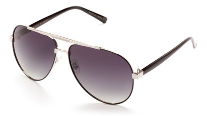 Angle of Tibet #2084 in Black and Silver Frame with Smoke Lenses, Women's and Men's Aviator Sunglasses