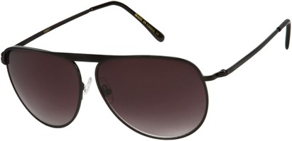 Angle of SW Aviator Style #9433 in Black Frame with Smoke Lenses, Women's and Men's
