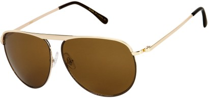 Angle of SW Aviator Style #9433 in Gold Frame with Amber Lenses, Women's and Men's