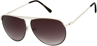 Angle of SW Aviator Style #9433 in Silver Frame with Smoke Lenses, Women's and Men's