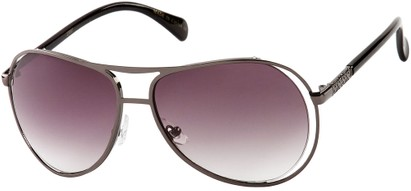 Angle of SW Fashion Aviator Style #8177 in Grey/Black Frame with Smoke Lenses, Women's and Men's