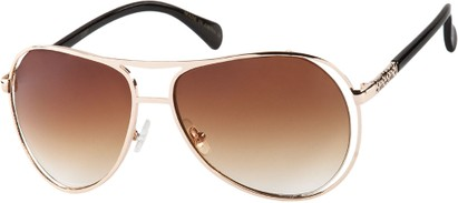 Angle of SW Fashion Aviator Style #8177 in Gold/Black Frame with Amber Lenses, Women's and Men's