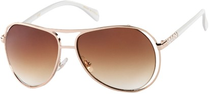 Angle of SW Fashion Aviator Style #8177 in Gold/White Frame with Amber Lenses, Women's and Men's