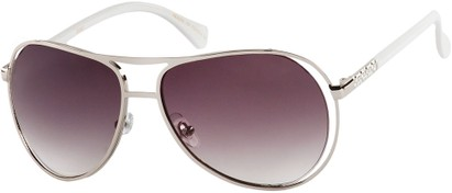 Angle of SW Fashion Aviator Style #8177 in Silver/White Frame with Smoke Lenses, Women's and Men's