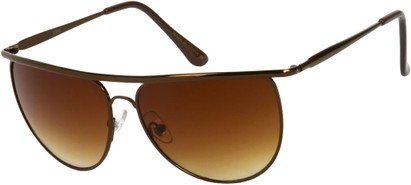 Angle of SW Round Aviator Style #91 in Bronze Frame with Amber Lenses, Women's and Men's