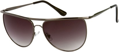 Angle of SW Round Aviator Style #91 in Grey Frame with Smoke Lenses, Women's and Men's