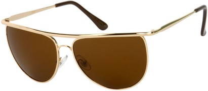 Angle of SW Round Aviator Style #91 in Gold Frame with Amber Lenses, Women's and Men's