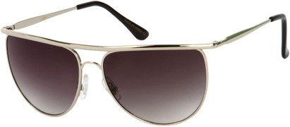 Angle of SW Round Aviator Style #91 in Silver Frame with Smoke Lenses, Women's and Men's