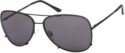 Angle of SW Rimless Aviator Style #323 in Black Frame with Grey Lenses, Women's and Men's