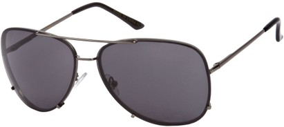 Angle of SW Rimless Aviator Style #323 in Grey Frame with Grey Lenses, Women's and Men's