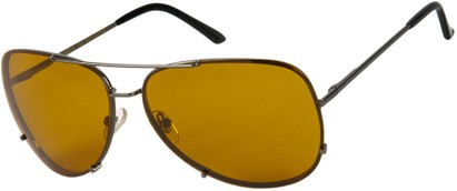 Angle of SW Rimless Aviator Style #323 in Grey Frame with HD Polarized Orange Lenses, Women's and Men's