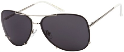 Angle of SW Rimless Aviator Style #323 in Silver Frame with Dark Grey Lenses, Women's and Men's