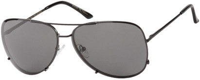 Angle of Calgary #5387 in Black Frame with Grey Lenses, Women's and Men's Aviator Sunglasses