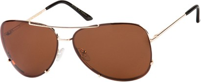 Angle of Calgary #5387 in Gold Frame with Copper Lenses, Women's and Men's Aviator Sunglasses