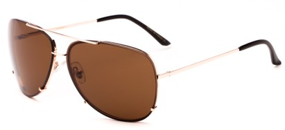 Angle of Cyclone #20955 in Gold Frame with Brown Lenses, Women's and Men's Aviator Sunglasses