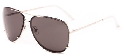 Angle of Cyclone #20955 in Silver Frame with Grey Lenses, Women's and Men's Aviator Sunglasses