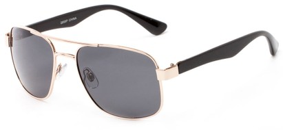 Angle of Oman #2095 in Gold/Black Frame with Grey Lenses, Women's and Men's Aviator Sunglasses