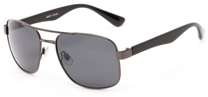 Angle of Oman #2095 in Grey/Black Frame with Grey Lenses, Women's and Men's Aviator Sunglasses