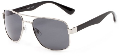 Angle of Oman #2095 in Silver/Black Frame with Grey Lenses, Women's and Men's Aviator Sunglasses