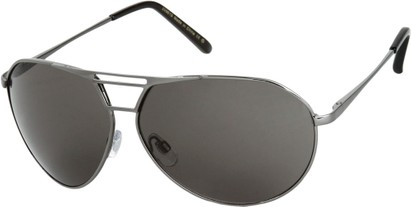 Angle of SW Aviator Style #1617 in Glossy Grey Frame with Dark Grey Lenses, Women's and Men's