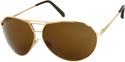 Angle of SW Aviator Style #1617 in Glossy Gold Frame with Dark Amber Lenses, Women's and Men's