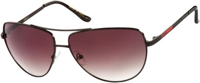 Angle of SW Aviator Style #2980 in Black Frame with Smoke Gradient Lenses, Women's and Men's