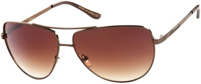 Angle of SW Aviator Style #2980 in Copper Brown Frame with Amber Gradient Lenses, Women's and Men's