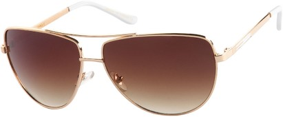 Angle of SW Aviator Style #2980 in Gold Frame with Amber Gradient Lenses, Women's and Men's