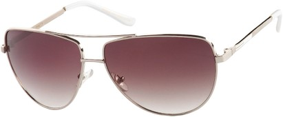 Angle of SW Aviator Style #2980 in Silver Frame with Smoke Gradient Lenses, Women's and Men's