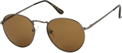 Angle of Marco   #1277 in Grey Frame with Brown Lenses, Women's and Men's Round Sunglasses