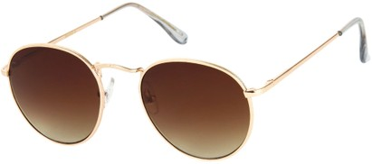 Angle of Marco   #1277 in Gold Frame with Amber Lenses, Women's and Men's Round Sunglasses