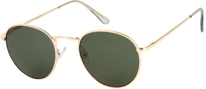 Angle of Marco   #1277 in Gold Frame with Green Lenses, Women's and Men's Round Sunglasses
